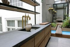 kitchen overlooking garden courtyard