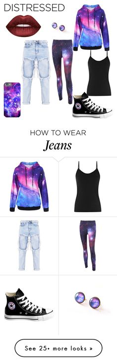 """Galaxy Distressed Jeans Look"" by bernardashley on Polyvore featuring Lime Crime and Converse"