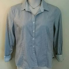 Women's  Striped Button Down Top The best part about this shirt is when you roll up the sleeves its really thin striped on the cuff. George Tops Button Down Shirts