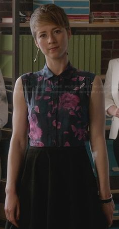 Margaux's purple and black floral shirtdress on Revenge.  Outfit Details: http://wornontv.net/28271/ #Revenge