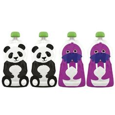 """Squooshi Reusable Food Pouch, Large Panda/Walrus, 4.5 Ounce, 4-Count (857115004023) Includes 2 walrus and 2 panda Squooshi pouches Reusable, dishwasher safe, freezable Choke proof cap; Leak free my zip technology seal BPA free; Phthalate free; Lead free Capacity: 4.5 fluid ounce (130ml). Dimensions: 4"""" width x 7 1/2"""" height"""