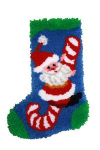 "Candy Cane Santa Stocking 12x17"" (30.5x43.3cm) latch hook kit as shown. Kit includes 5-mesh Latch Hook canvas, full color chart, how-to-instructions and pre-cut 100% acrylic yarn."
