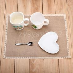 New-Beige-Country-Dining-Table-Place-Mats-Shabby-Chic-Coasters-Burlap-Placemats