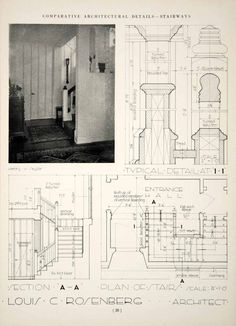 1937 Print Louis C Rosenberg Bannisters Stairway Boarding Wood Plan - Period Paper Classic Architecture, Architecture Drawings, Architecture Details, Detailed Drawings, Technical Drawings, Patio Edging, Stage Set Design, Construction Documents, Hand Sketch