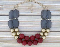 Cranberry Red Statement Necklace Chunky by TheGoldenGardenia