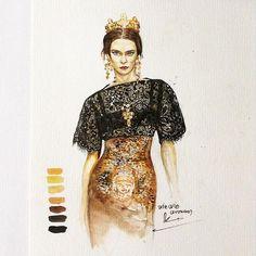 #sketch #drawing #artdesign #design #watercolor #illustrator #fashion #fashiondesign #dolcegabbana #passion  Bắt đầu dần dần thích thương hiệu D&G, nhìn nó có chút gì đó sang sang, chút gì đó hoàng gia, vừa cổ điển vừa hiện đại, từ cách xử lý chất liệu đến hoa văn hình ảnh in đính trên trang phục đều rất bắt mắt >.<