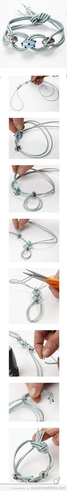 Pulsera DIY con cuerdas, paso a paso