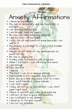 affirmations daily affirmations mental health awareness anxiety help anxiety anxiety affirmations positive affirmations the pineapple crowd Anxiety Tips, Anxiety Help, Stress And Anxiety, Calming Anxiety, Things To Help Anxiety, Coping Skills For Anxiety, Mantras For Anxiety, Health Anxiety, Positive Affirmations Quotes