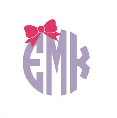 Monogram With Bow Car Decal Circle Block Monogram Car Decal Preppy Car Window Decal Personalized Custom Decal Everything Else on Etsy, $9.00