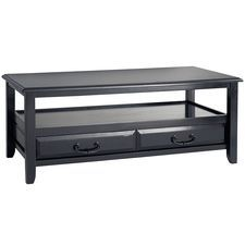 Anywhere Rubbed Black Coffee Table with Pull Handles