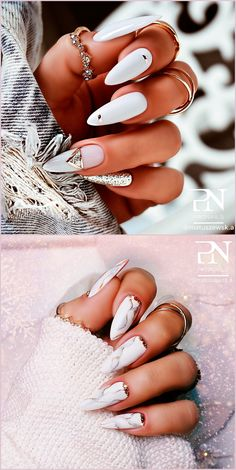 Cute white almond nails ideas for inspiration! Cute Acrylic Nail Designs, Classy Nail Designs, Cute Acrylic Nails, Gel Nails, Nail Manicure, Coffin Nails, Classy Nails, Stylish Nails, Trendy Nails