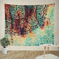 Boho Psychedelic Elephant Tree of Life Floral Tapestry Hippy Mandala Gypsy Wall Hanging Sheet Coverlet Picnic blanket Bedspread Curtain Decor Table Couch Cover Beach Yoga Throw M BY3