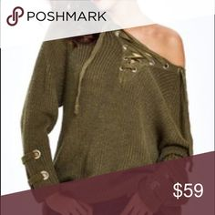 CHIC Olive Sweater Lace up details Hottest style ribbed knit sweater with tie details and cuffs and neckline . Price is firm . NWOT . Also available in apricot . Sleeve length will vary on different body types. S/M Fits small and medium 2-4-6 . M/L will fit upper sizes 8/10 . search : oversized slouchy sweater Sweaters