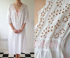 267c903d05 Romantic Edwardian White Brodrais Anglais Nightdress   Edwardian Nightdress    Vintage Cotton Nightdress   Size UK