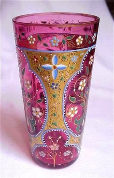 Beautiful Moser Cranberry Enamel Decorated Juice Glass-This gives me an idea to paint some glasses myself. Would be fun