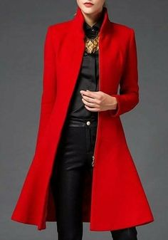 Womens Stand Collar Trench Mid Long Coat Slim Fit Wool Blend Lady Overcoat Vogue in Clothing, Shoes & Accessories, Women's Clothing, Coats & Jackets Fall Outfits, Fashion Outfits, Womens Fashion, Fashion Hacks, Langer Mantel, Stylish Coat, Mode Inspiration, Winter Fashion, Fashion Night