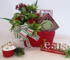 Jesus is the Reason for the Season Gift Basket filled with Christian Gifts gift baskets, season, giftbasket, gift idea, christian gifts