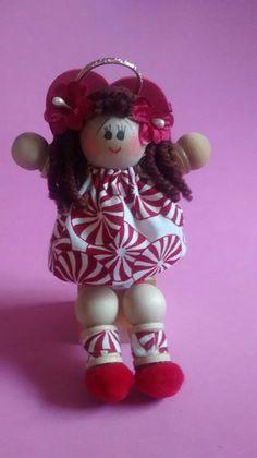 Handmade, palm-sized wood and fabric angel dolls by AngelsByElaine