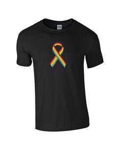 Mens Gay Pride Ribbon T-shirt