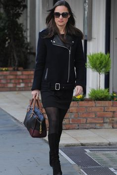 Pippa Middleton wearing Loewe Amazona Bag in Black and Chestnut and Sandro Mielleuse Jacket