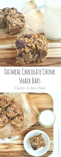 Oatmeal dark chocolate chunk bars are perfect for a quick breakfast or healthy snack | Back To The Book Nutrition