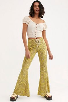 Jimi Printed Pants by Lenni at Free People, Green, S Dress For You, Dress Up, High Waisted Flares, Festival Outfits, Festival Clothing, Black Models, Printed Pants, Vintage Tees, Free People Dress