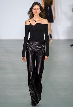 Cool doesn't even cut it, as the girls at David Koma SS17 took to the catwalk in hybrid chic-meets-goth get-ups. Sleek bardot tops were revamped with one-shoulder double straps and matched with leather straight-leg trousers and boots