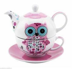 Owl Tea for One- China Teapot & Cup & Saucer Set Pink & White Tea For One, My Tea, Owl Kitchen, China Teapot, Cuppa Tea, Teapots And Cups, Chocolate Pots, Cup And Saucer Set, Tea Time