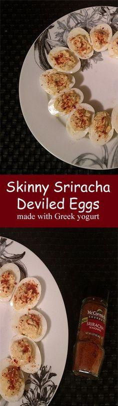 Skinny Sriracha Deviled Eggs made with Greek Yogurt #WheatBelly #glutenfree #wheatfree