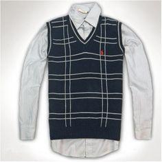 Ralph Lauren Men Light Chestnut Mesh V neck Sweaters