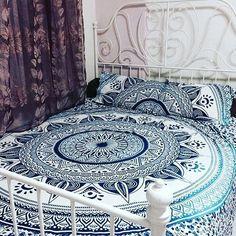 Blue mandala bed cover bohemian indian bedsheet blanket
