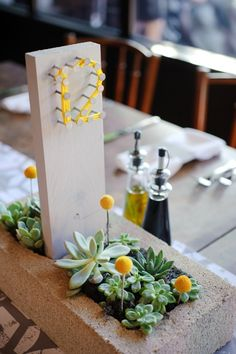 Cement table numbers - billy balls & succlents | KR Weddings - image by Kristin Rogers Photography