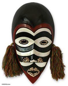 African Wood Mask - Zebra Monkey | NOVICA