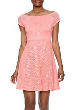 Coral lace fit and flare dress with short sleeves, boat neckline and a back zipper closure.   Coral Skater Dress by Ya Los Angeles. Clothing - Dresses - Short Sleeve Clothing - Dresses - Casual North Shore, Boston, Massachusetts