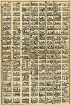 1890 map of Midtown Manhattan, from 34th Street to 59th Street and from 1st Avenue to 6th Avenue.