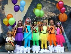 Homemade Rainbow and Pot of Gold Group Costume: My daughter and her best friends wanted a Rainbow and Pot of Gold Group Costume.  We searched for bright colors and found these neon tanks, leggings and