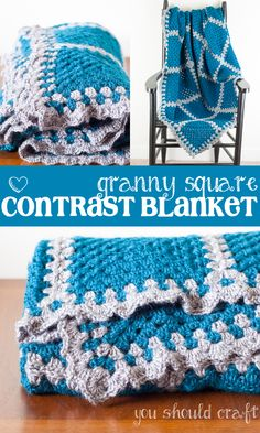 Free crochet pattern and photo tutorial for the Granny Square Contrast Blanket. Crochet big granny squares and join-as-you-go with contrasting yarn to create this simple and beautiful crochet blanket. Crochet Blocks, Crochet Blanket Patterns, Crochet Granny, Crochet Motif, Easy Crochet, Free Crochet, Crochet Blankets, Crochet Afghans, Afghan Patterns