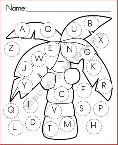 Chicka Chicka uppercase game board - Dot marker as you find the letters in the story, play bingo, match magnetic letters to the tree