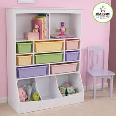Wall Storage Unit White with plastic bins www.sweetretreatkids.com #sweetretreatkids #kidsshelf #kidsroomshelf #kidsbookshelf #bookshelf #princesstheme #nurserybookshelf #childbookcase #kidsbookcase