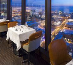 LEMAYMICHAUD | CIEL | Québec | Architecture | Design | Restaurant | Eatery | Hospitality | Bistro | Bar | Natural light | View | Sky | Seating | Chairs | Tables Bistro, Ciel, Architecture Design, Tables, Restaurant, Bar, Furniture, Home Decor, Mesas
