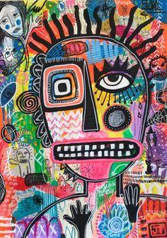 """Lunatic Soul"" - mixed media on watercolour paper ~ Julia Trembicki Arte Punk, Funky Art, Hippie Art, Art Pop, Psychedelic Art, Collage Art, Art Inspo, Fantasy Art, Cool Art"