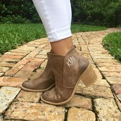 Monogram Bryce Booties – I Love Jewelry Cute Shoes, Me Too Shoes, Monogram Boots, Monogram Clothing, Monogram Styles, Queen, Types Of Shoes, Vegan Leather, Passion For Fashion