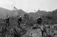"""24 Mar 1969, South Vietnam --- Ashau Valley -3/24-69-:  Paratroopers of the U.S. 101st Airborne Division head for combat zone after being airlifted here by helicopters, March 23, as """"Operation Massachusetts Striker"""" gets underway.  Some 3,000 men are involved in the operation designed to break up a major Communist supply route into South Vietnam from the Ho Chi Minh Trail in Laos. --- Image by © Bettmann/CORBIS"""