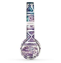 The Tie-Dyed Aztec Elephant Pattern V2 Skin Set for the Beats by Dre Solo 2 Wireless Headphones from DesignSkinz