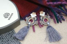 gift for her medium fringe silver grey bead embroidery soutache earrings #ColorBlocks #BeadEmbroidered #soutache #AnniversaryJewelry #SoutacheEarrigs #GeometricEarrings #RectangleShape #PartyJewelry #BeadEmbroidery