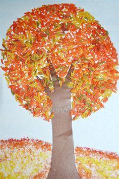 Осеннее дерево из риса. Мастер-класс