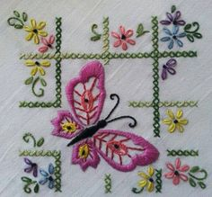 Hand Embroidery Patterns For Quilts Baby Embroidery, Butterfly Embroidery, Silk Ribbon Embroidery, Vintage Embroidery, Floral Embroidery, Butterfly Project, Butterfly Pattern, Free Machine Embroidery Designs, Hand Embroidery Patterns