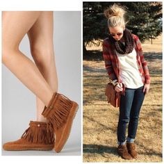 Trendy Boho Mocassin Fringe Booties in Rust with Stud Details!