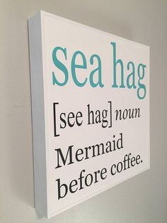 Mermaid sign, FREE SHIPPING, wood beach sign, coastal decor, beach quote, ocean decor, beach gift, mermaid gift, beach house decor, beach sign * This whimsical sea hag/mermaid sign will make you smile every time you see it! Its crisp, clean colors are a great coastal accent for