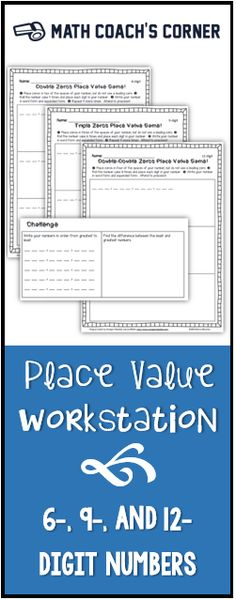 This workstation task incorporates problem solving as students determine the best strategy to win. Versions for 6-, 9-, and 12-digit numbers. Perfect for teaching math workshop routines!